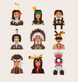 set with american indian man portraits various vector image