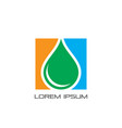 square waterdrop eco logo vector image
