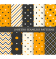 10 retro different seamless patterns Black and vector image