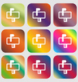 Mailbox icon Nine buttons with bright gradients vector image