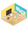 kindergarten play room isometric design concept vector image