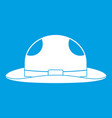 summer hat icon white vector image vector image