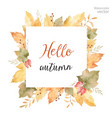 Watercolor square frame of leaves and vector image
