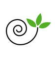 Abstract drawing of a cute snail with green leaves vector image