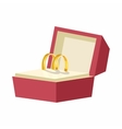 Wedding rings in a red box icon cartoon style vector image