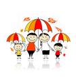 Autumn season Family with umbrellas vector image