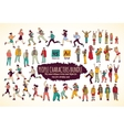 Big bundle people characters doodles color icons vector image
