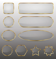 Blank glass buttons with gold frame vector image