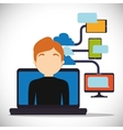 man laptop cloud connect technology device vector image