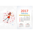 nice young woman skating fun Calendar for 2017 vector image