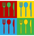 Pop art fork spoon and knife icons vector image