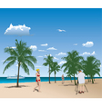tourists in tropical beach vector image