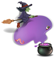 Broom Riding Witch vector image vector image