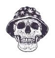 rasta skull in hat vector image