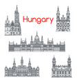 Architecture of hungary buildings icons vector image
