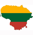 Map of Lithuania with national flag vector image vector image