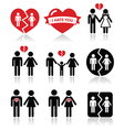 Couple breakup divorce icons set vector image