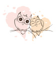 Love owls on a branch vector