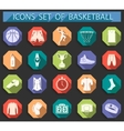 Set of icons basketball in flat style vector image