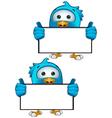 Blue Bird Holding Blank Sign vector image