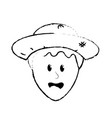 figure cute man face with hat vector image