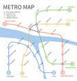 metro subway train map urban vector image