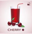 set of cherry juice and fresh ripe berries vector image