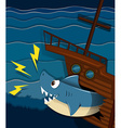Shipwreck and shark attack underwater vector image