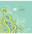 Retro sea waves marine background vector image vector image