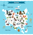 map of eurasia continent with different animals vector image
