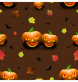 Halloween seamless pattern pumpkins scary face vector image vector image