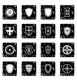 Shield icons set grunge style vector image
