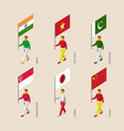 3d people with flags vector image