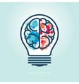 Creative Light Bulb Left and Right Brain Idea Icon vector image vector image