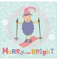 2015 card with cute funny skiing sheep vector image