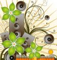 floral music background vector image vector image