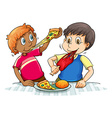 Hungry boys eating vector image