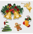 Christmas symbol gingerbread ornaments and gifts vector image