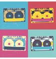 Audiocassette retro popart music seamless vector image