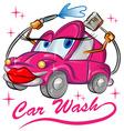 fun red sexy car wash cartoon vector image
