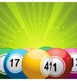 Bingo balls on green starburst vector image