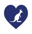blue heart with australia kangaroo vector image