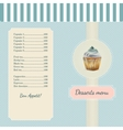 Confectionery menu template with watercolor vector image