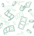 doodle cash flow raining money seamless vector image