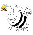 educational game for kids and coloring book-bee vector image