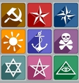 Icons of the different symbols vector image