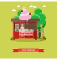 ice cream stall salesgirl and vector image