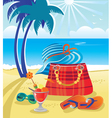 summer objects on beach vector image vector image