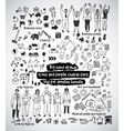 Big hand drawn icons and people doodles bundle vector image vector image