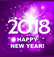 beautiful pink fireworks with happy new year 2018 vector image